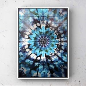 Trendy blue black silver tie dye pattern art print